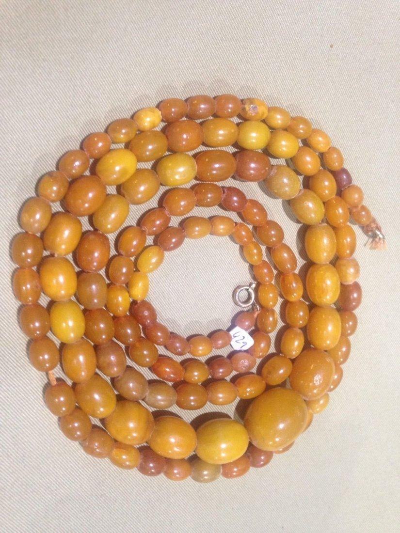 antique butterscotch amber Necklace Egg Yolk Amber
