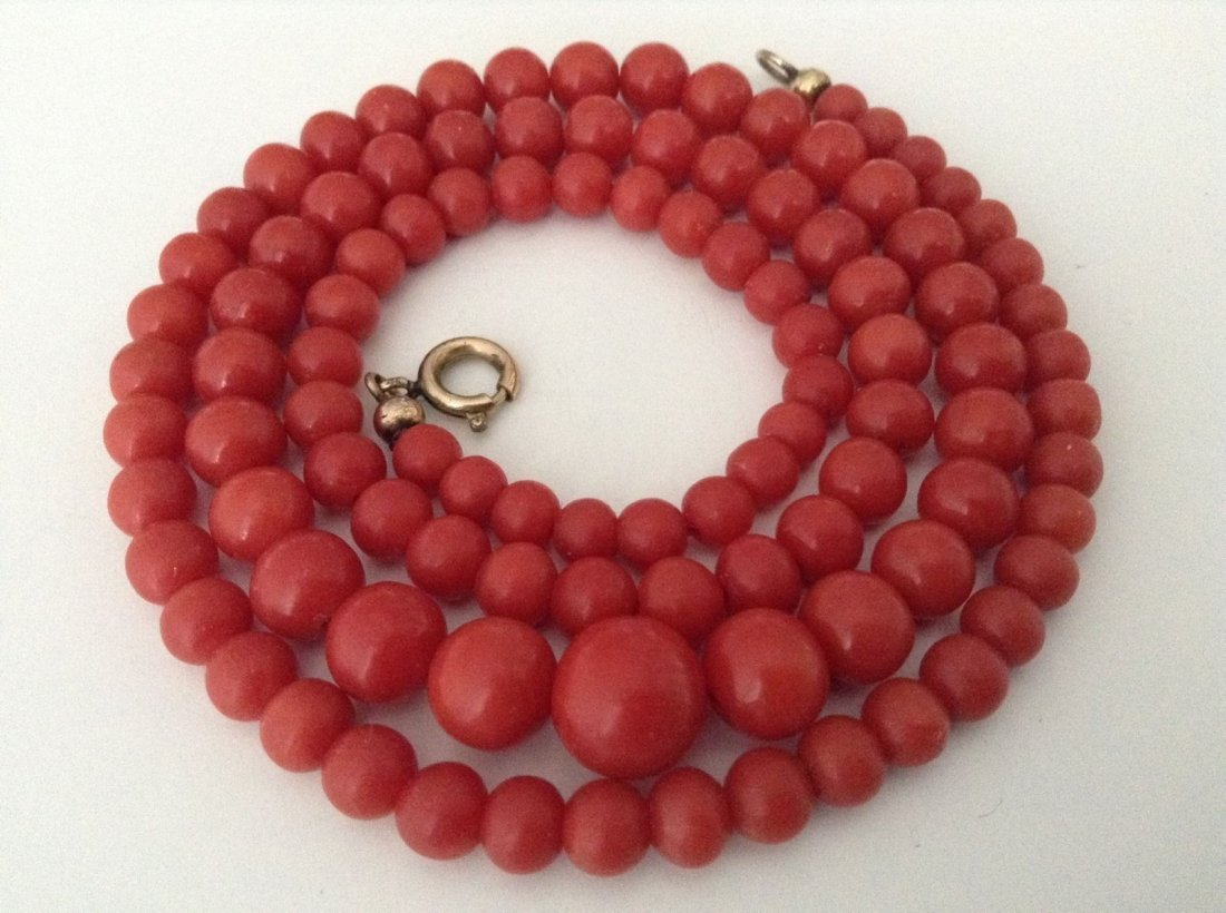 Antique Genuine undyed natural red coral necklace
