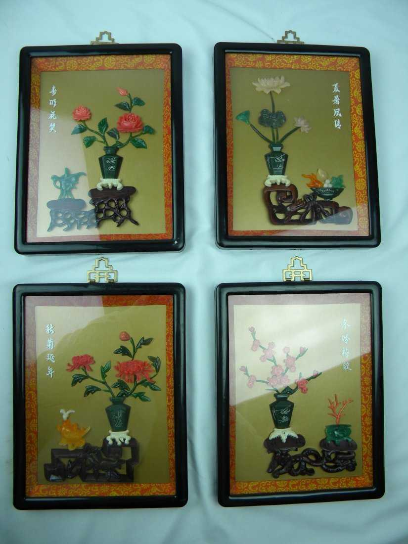four panels of chinese four season coral jade rosewood