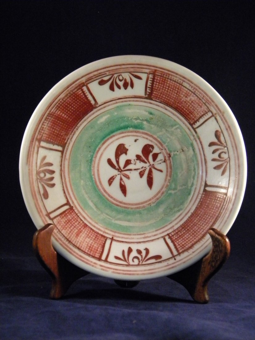 ANTIQUE CHINESE MING DYNASTY RED AND GREEN FLOWER PLATE - 2