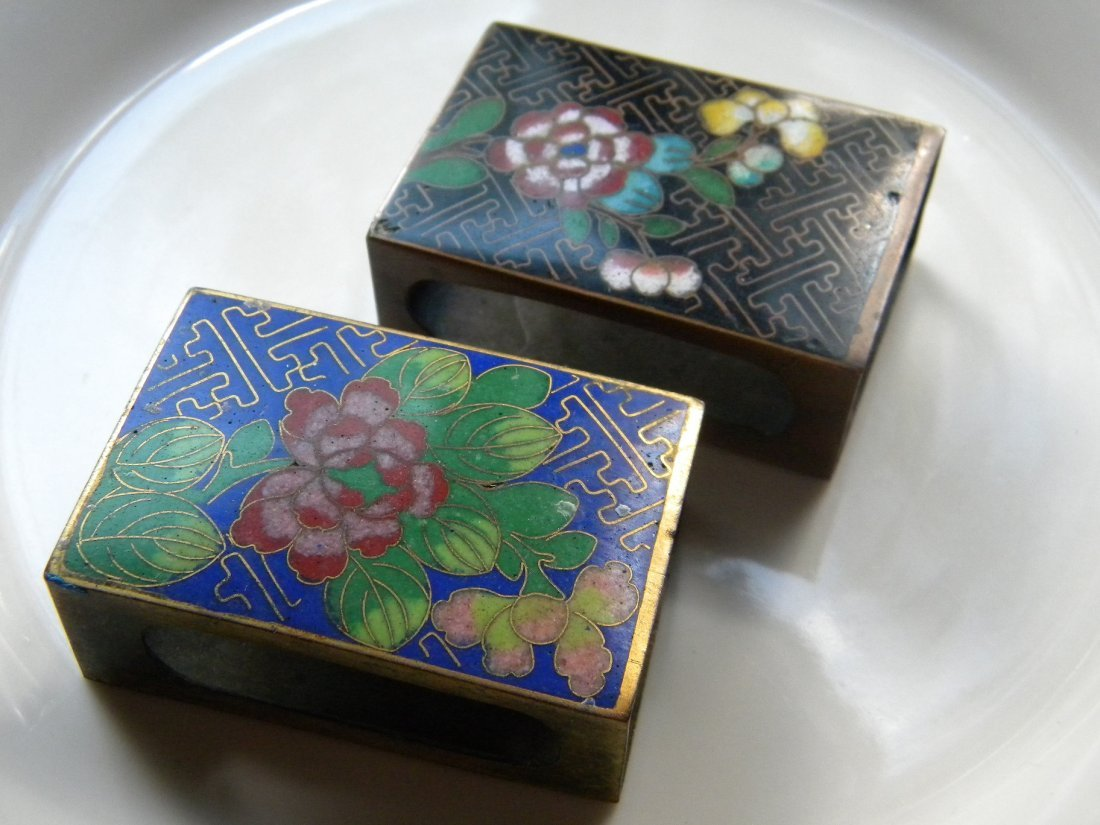 PAIR OF ANTIQUE CHINESE COISONNE MATCH BOX HOLDER