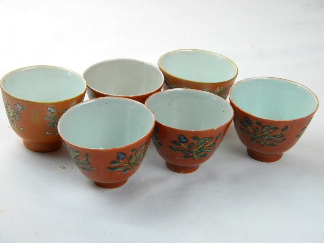 GROUP OF SIX PORCELAIN WINE CUPS