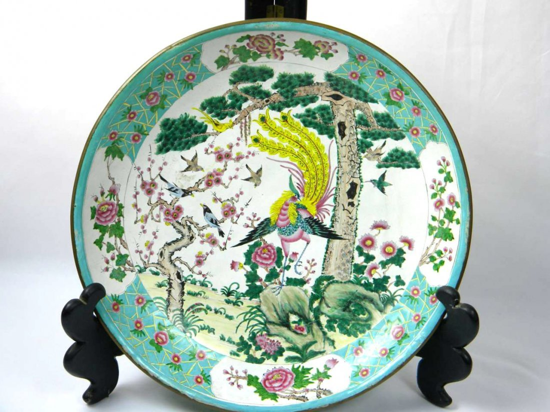 Antique Chinese Enamel Big Pheonix Plate