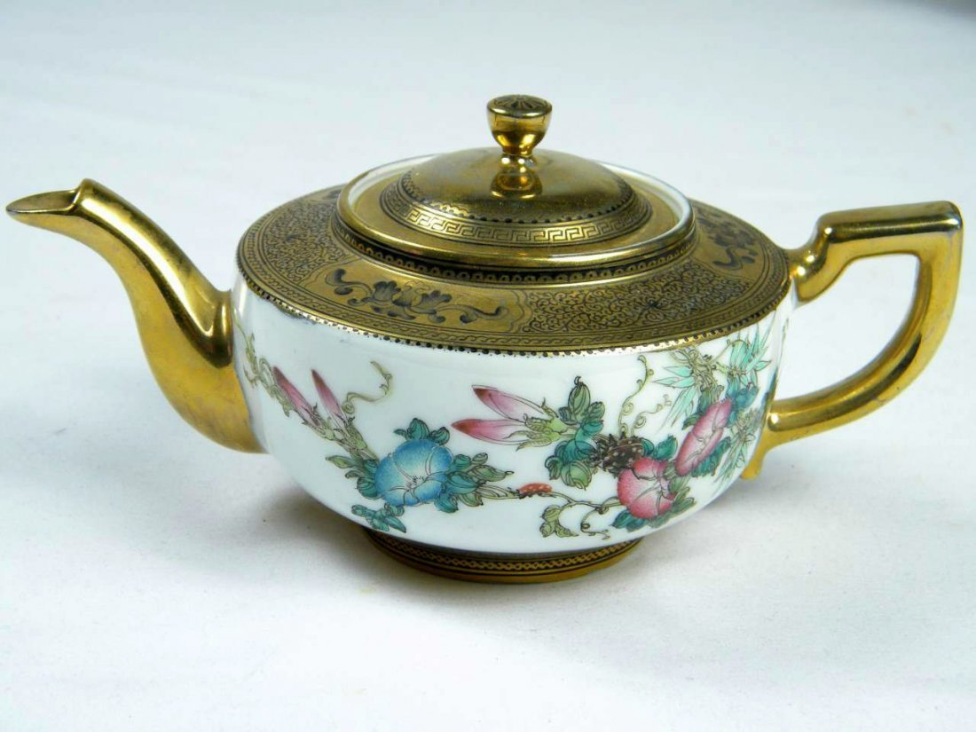 Chinese Famille Rose Teapot Marked Qianlong