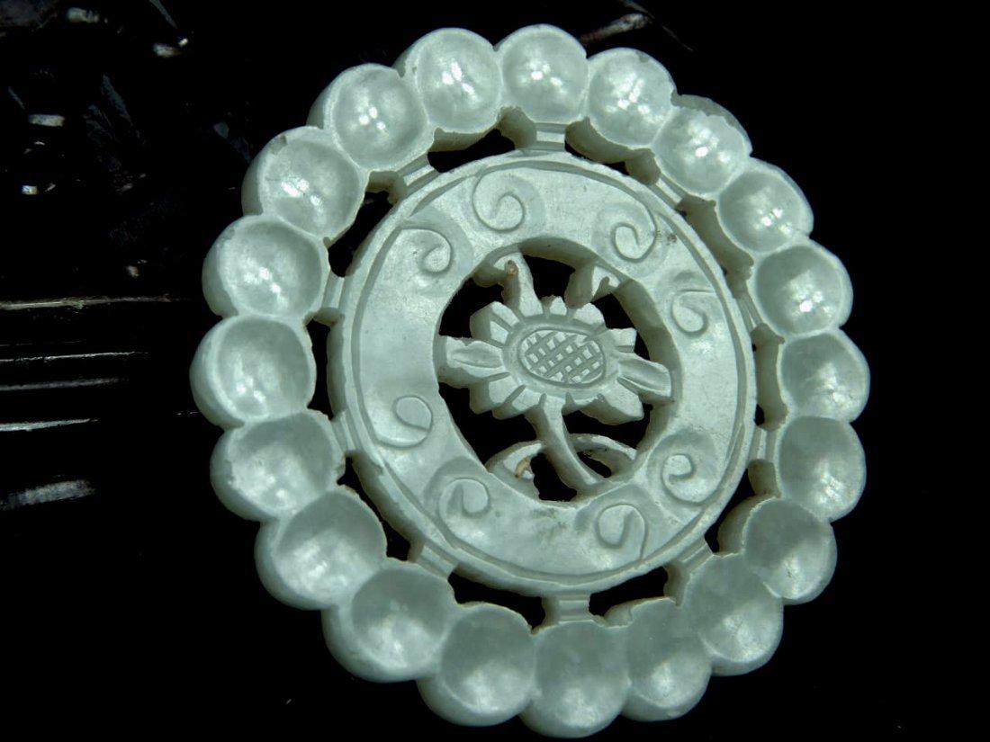 Antique Chinese Nephrite Jade Wheel Pendant