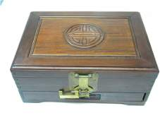 ANTIQUE CHINESE ROSEWOOD JEWELRY BOX LONGEVITY SIGN ON