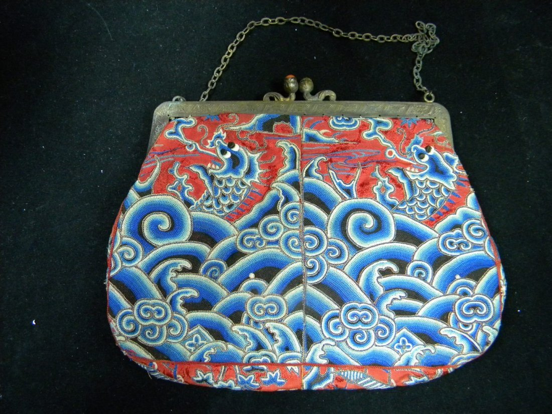 Antique Chinese Dragon Embroidery Purse Coral on Hanger