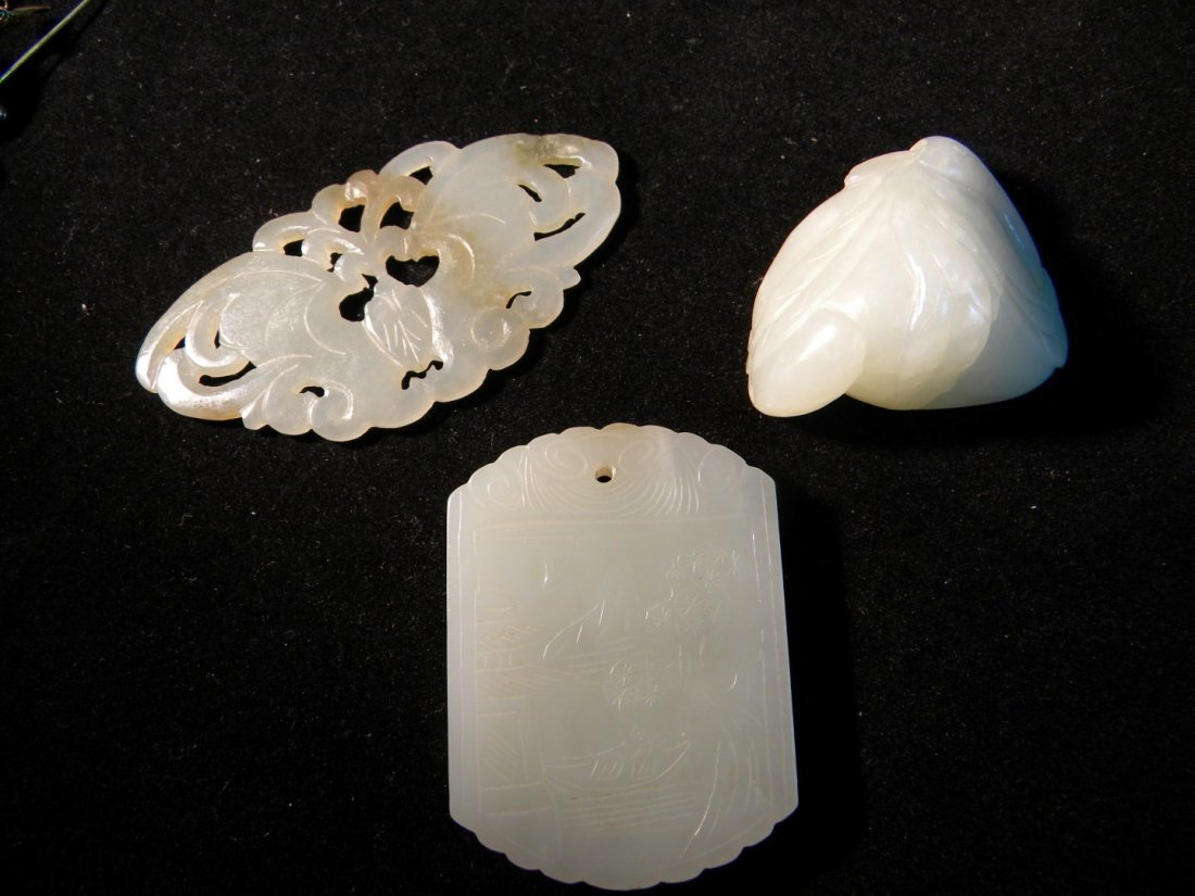 Lot of Three Nephrite White Jade Pendants