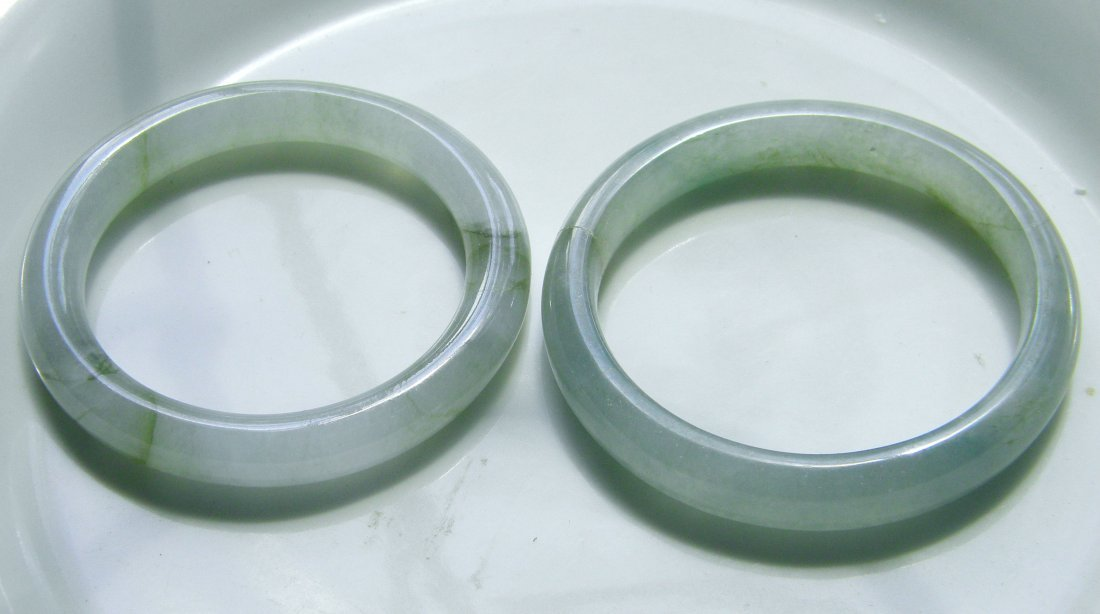Pair of Chinese Icy Jadeite Grade A Bangle Bracelet