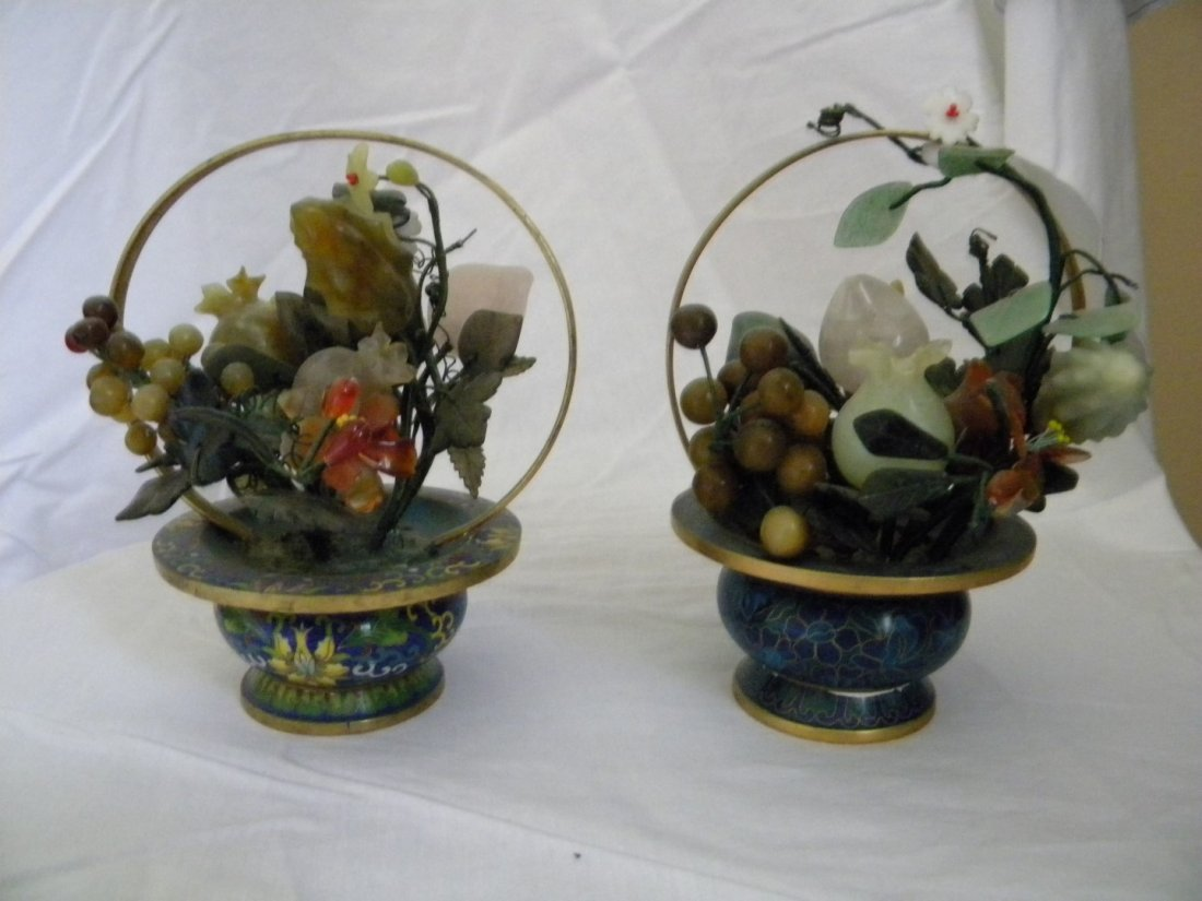 Pair of Cloisonne Flower Basket with Crystal and