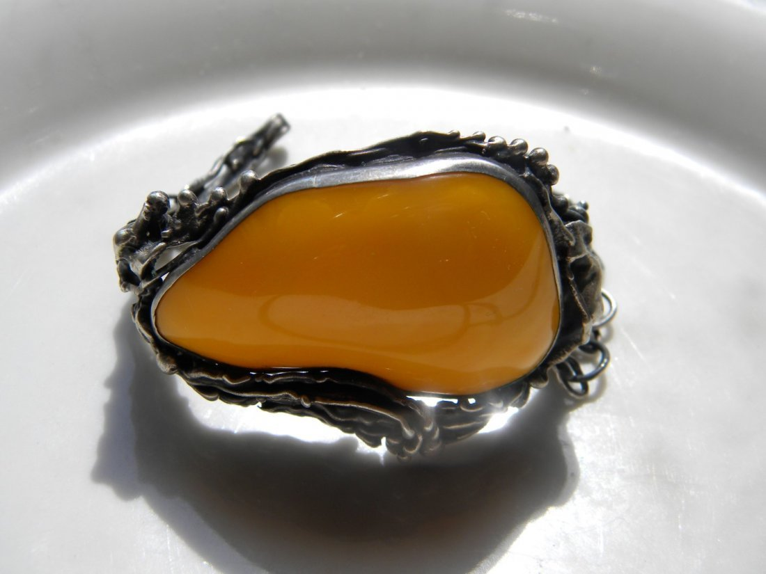 Antique Butter Scotch Amber Silver Bracelet