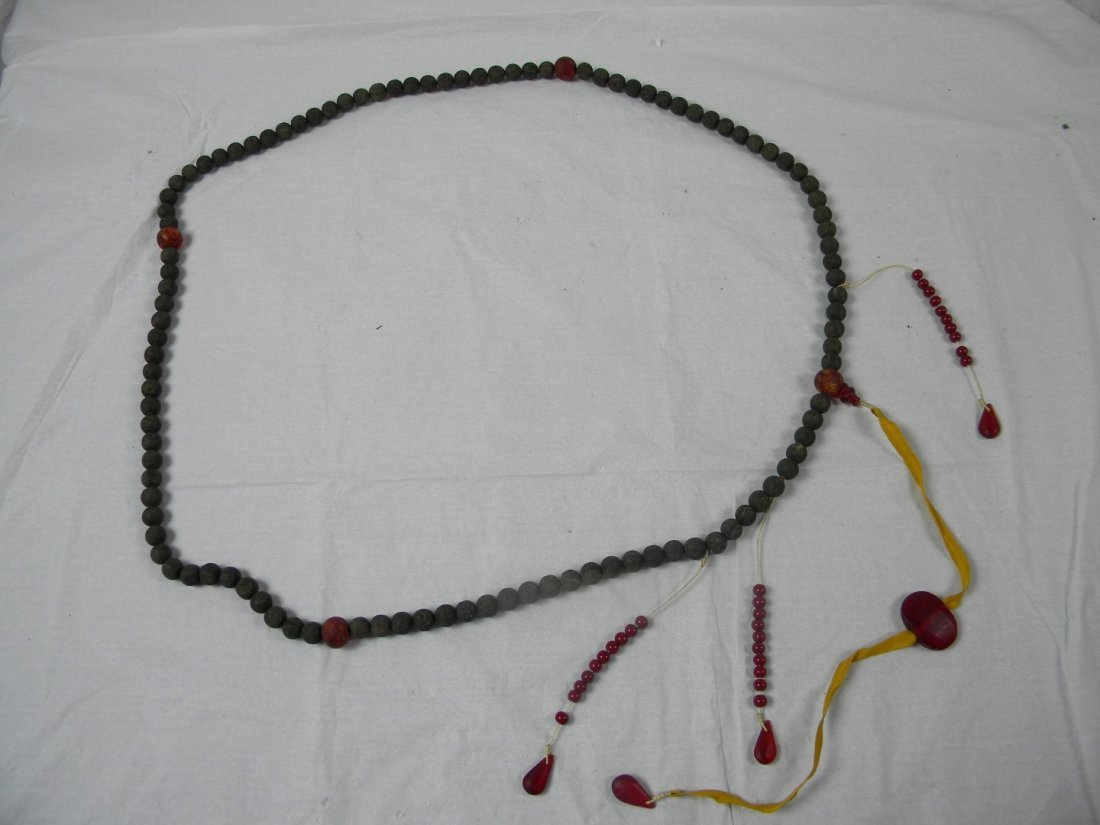 Antique Chinese ChenXiang Longevity Court Bead Necklace
