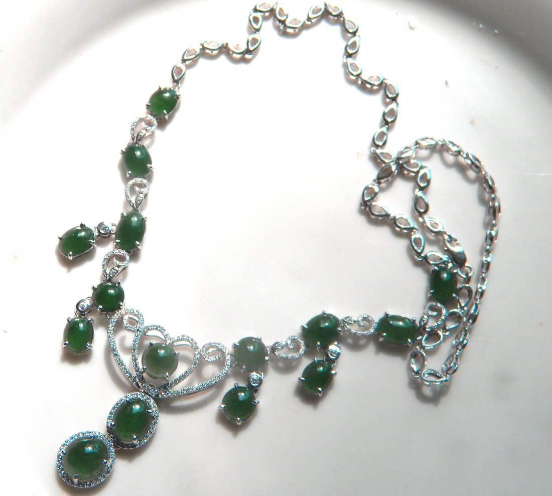 Natural Green Jadeite Silver Necklace