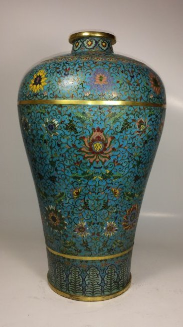 Antique Chinese Cloisonne Meiping Qianlong Mark