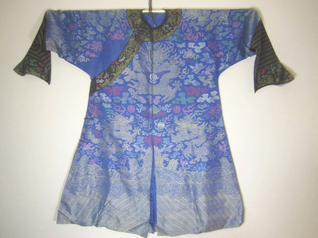 Antique Chinese Silk Embroidery Dragon Robe