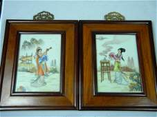 Pair of Antique Chinese Porcelain Beauty Plaques