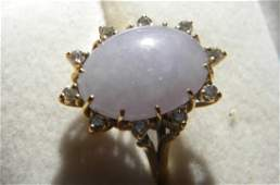 Antique Chinese Huge Purple Jadeite Gold Diamond Ring