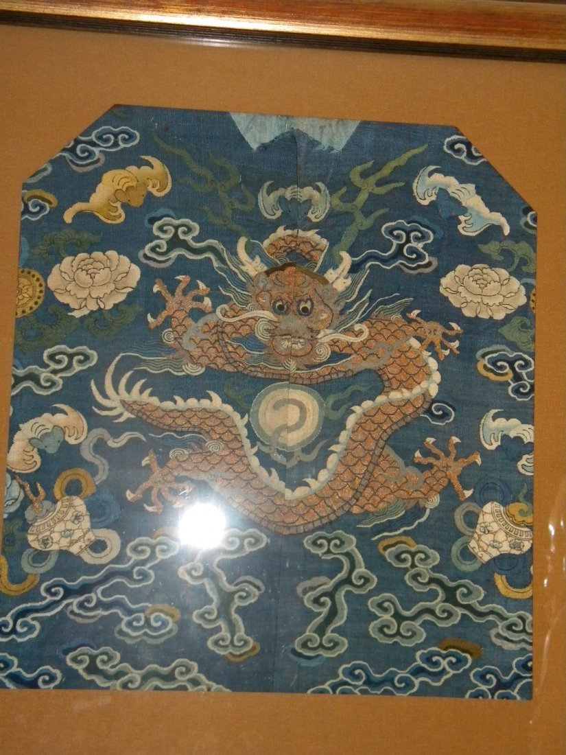 Antique Chinese Imperial Dragon Embroidery Framed