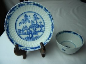 Antique Chinese Blue And White Saucer And Cup