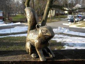 Antique Copper Squirrel Statue