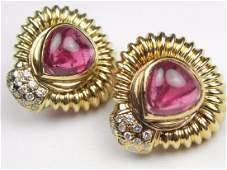 LARGE TOURMALINE DIAMOND 18K YELLOW GOLD Earrings