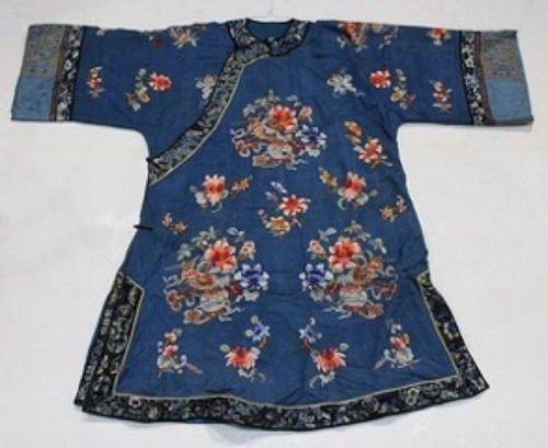 Chinese women's blue robe