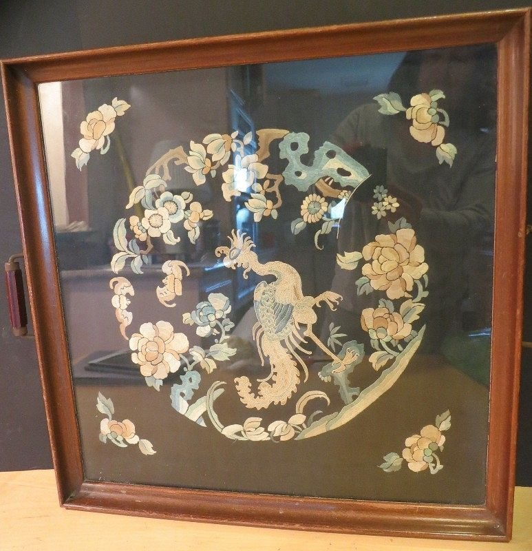 Antique Chinese embroidered tea tray with phoenix and b