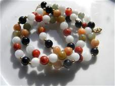14K Yellow Gold Multi Color Natural Stone Bead Necklace