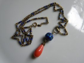 Antique Chinese Red Coral Water Drop Enamel Necklace