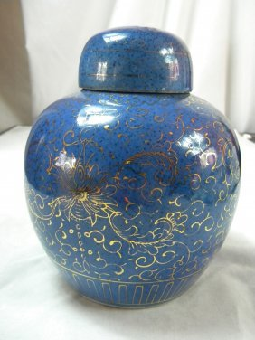 Antique Chinese Blue Glazed Pot Gold Gilded