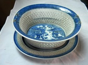 Antique Chinese Blue And White Qianlong Fruit Plate And