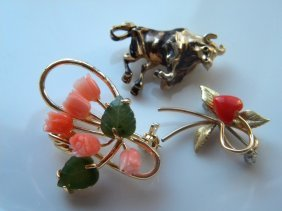 Three Brooch Pins, Including Vintage Tulip Pink Coral