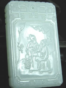 Antique Chinese White Nephrite Jade Plaque