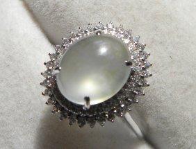 18k Gold Natural White Jadeite Ring