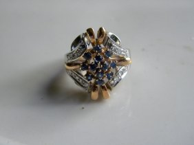 Antique 18k White And Yellow Gold Diamond Sapphire Ring