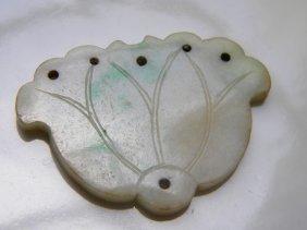 Antique Chinese Jadeite Lotus Pendant