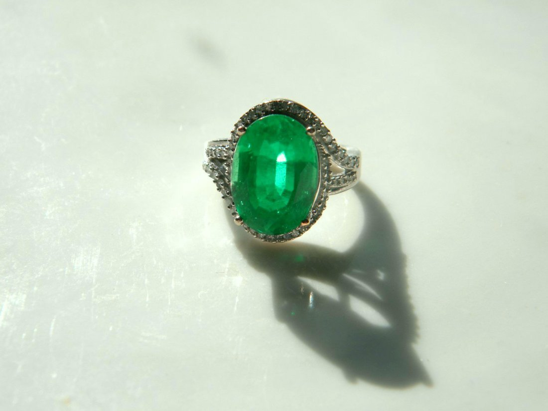 Huge Natural Emerald 10K Gold Diamond Ring