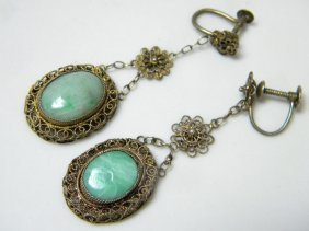 Pair Of Antique Chinese Silver Filigree Jadeite Earring
