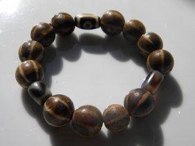 Antique Tibet Dzi Bead And Clay Beads Bracelet