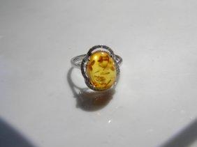 Natural Amber Silver Ring