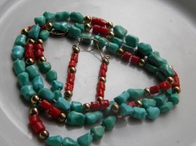 Antique Chinese Natural Turquoise Blood Coral Necklace