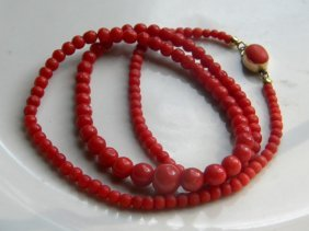 Antique Natural Red Coral Necklaces 9k Yellow Gold