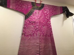 Chinese Antique Pink And Silver Color Dragon Brocade Ro