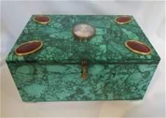 Continental gilt bronze agate mounted Malachite table b