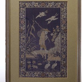 Kesi Framed Silk Panel Of A Fisherman