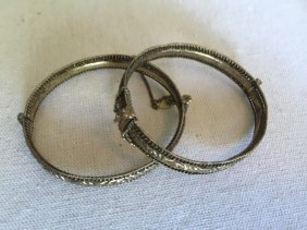 Pair Of Antique Chinese Silver Bracelets