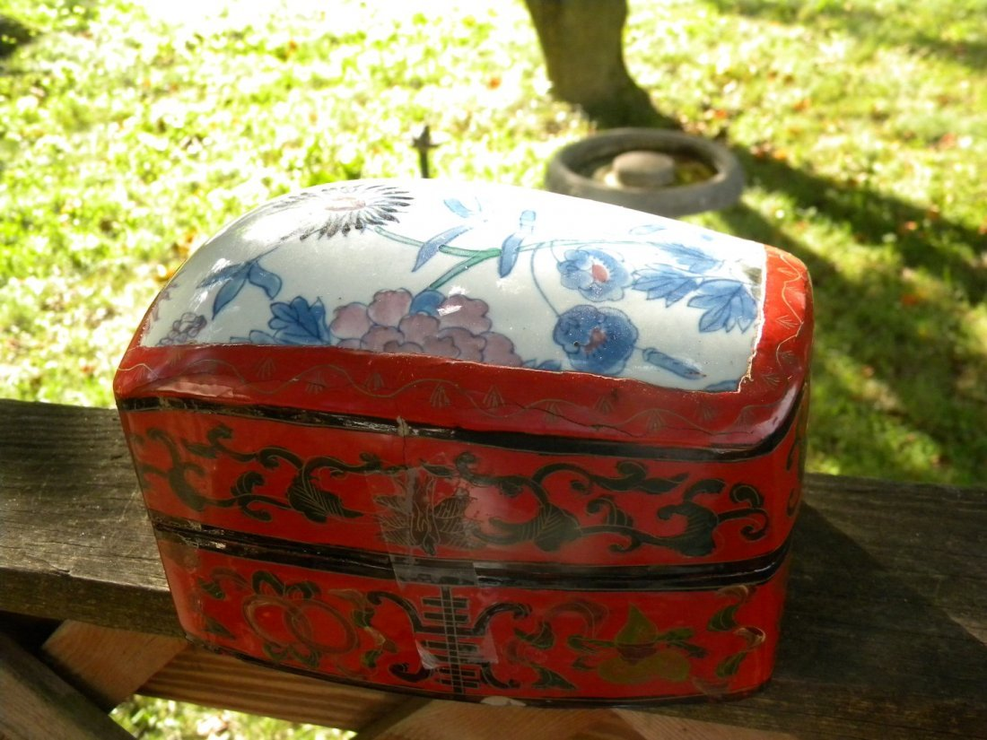 Antique Chinese Lacquer Box with Porcelain Top Inlay