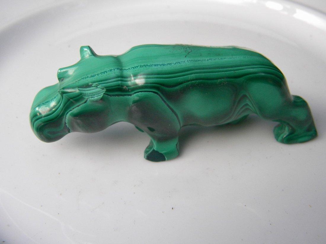 Antique Malachite Carved Hippo Statue