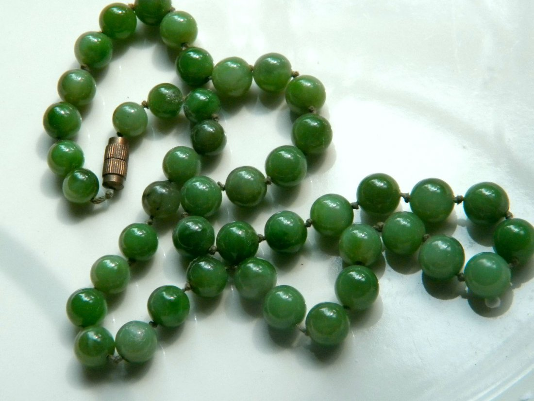 Chinese Green Nephrite Green Jade Necklace