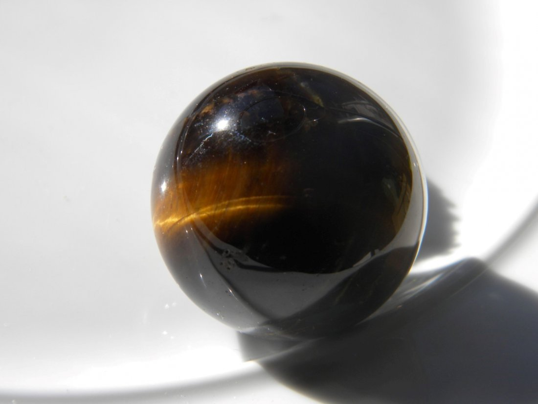 Antique Chinese Tiger's Eye Ball Desk Diaplay